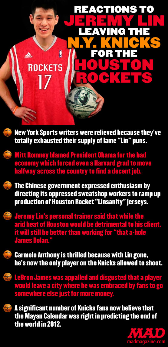 mad magazine the idiotical Reactions To Jeremy Lin Leaving the NY Knicks for the Houston Rockets Idiotical Originals, Sports, Jeremy Lin, Basketball, NBA, New York Knicks, Houston Rockets, James Dolan, Carmelo Antony, LeBron James, Linsanity