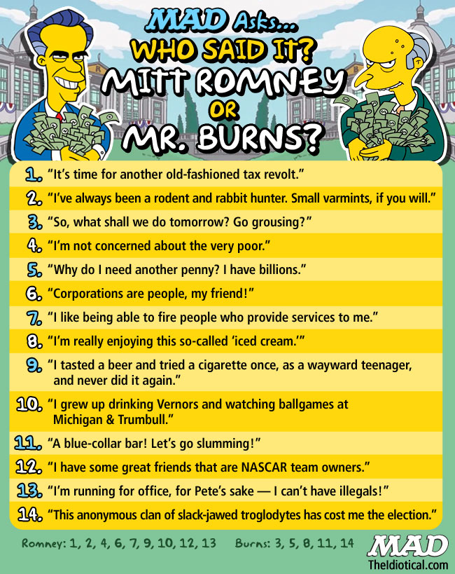MAD Magazine Who Said It Mitt Romney or Mr. Burns The Simpsons Montgomery Burns the idiotical theidiotical.com