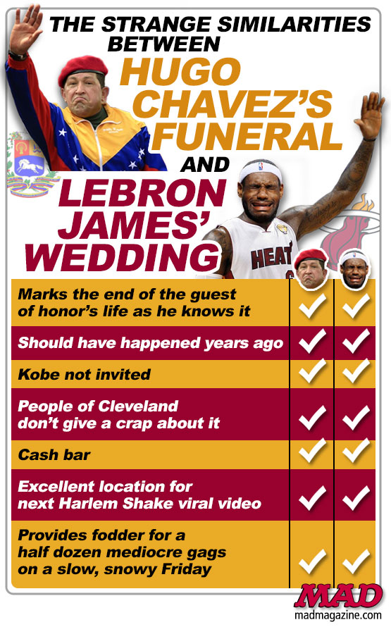 mad magazine the idiotical The Strange Similarities Between Hugo Chavez's Funeral and LeBron James' Wedding Idiotical Originals, Sports, Politics, Venezuela, LeBron James, Hugo Chavez, NBA, Miami Heat, Dictator, Death, Nuptials, Cavaliers, Basketball, King, Gently-Used Previously-Owned Sombreros
