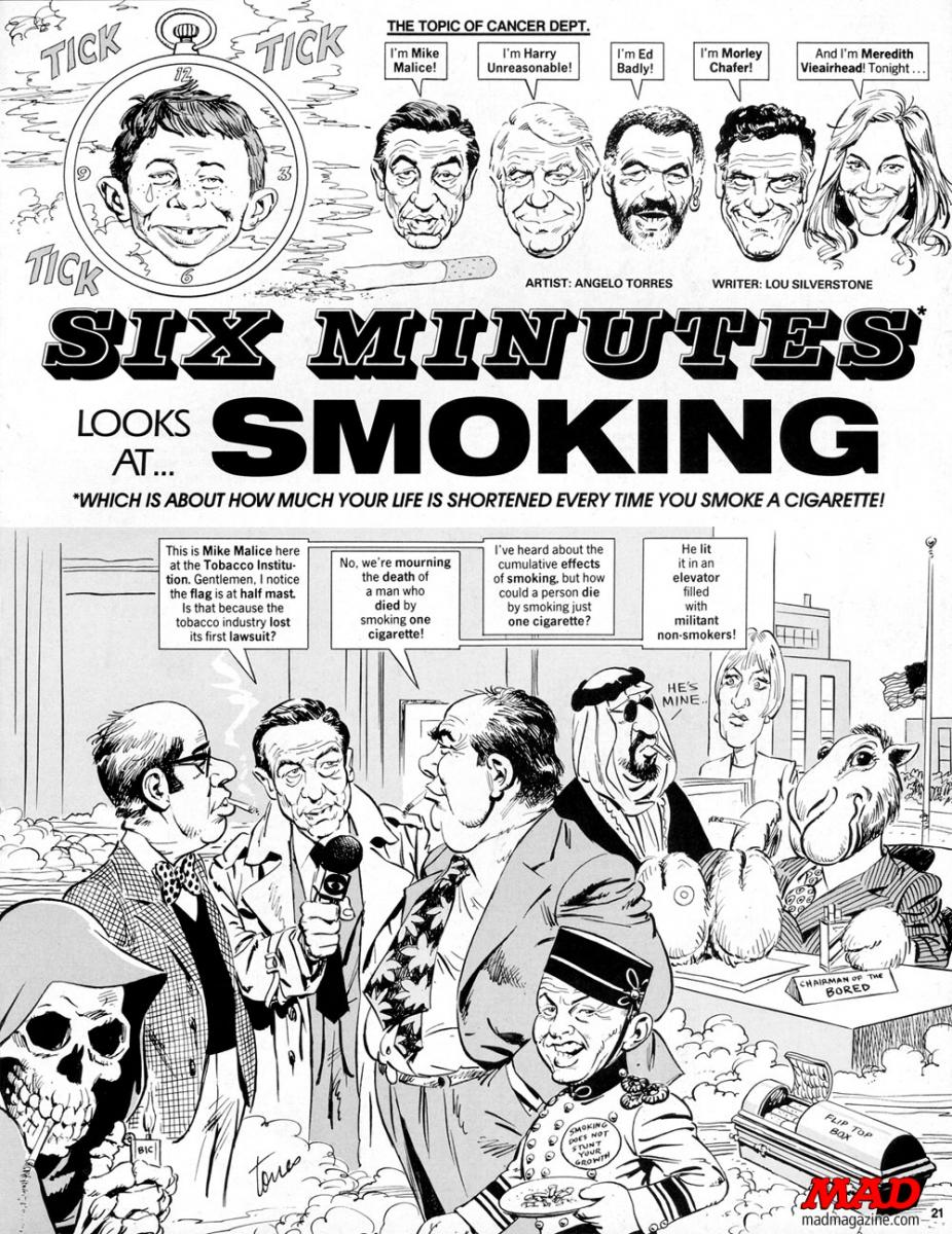 MAD Magazine Six Minutes Looks at Smoking Splash Mike wallace sixty minutes cbs the iditoical news