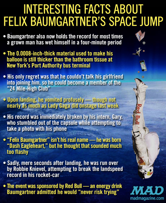 mad magazine the iditoical Interesting Facts About Felix Baumgartner's Space Jump Idiotical Originals, Society & Culture, Felix Baumgartner, Space Jump, Sound Barrier, World Record, Red Bull, Mission Control, Daredevil, Parachute, Balloon, Space,  Joseph Kittinger, Garden Gnome Hate Crimes