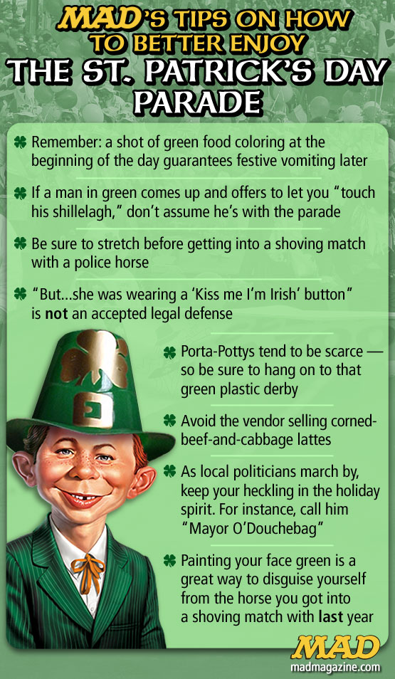 MAD Magazine Tips on How to Better Enjoy the St. Patrick's Day Parade The Idiotical Alfed e neuman