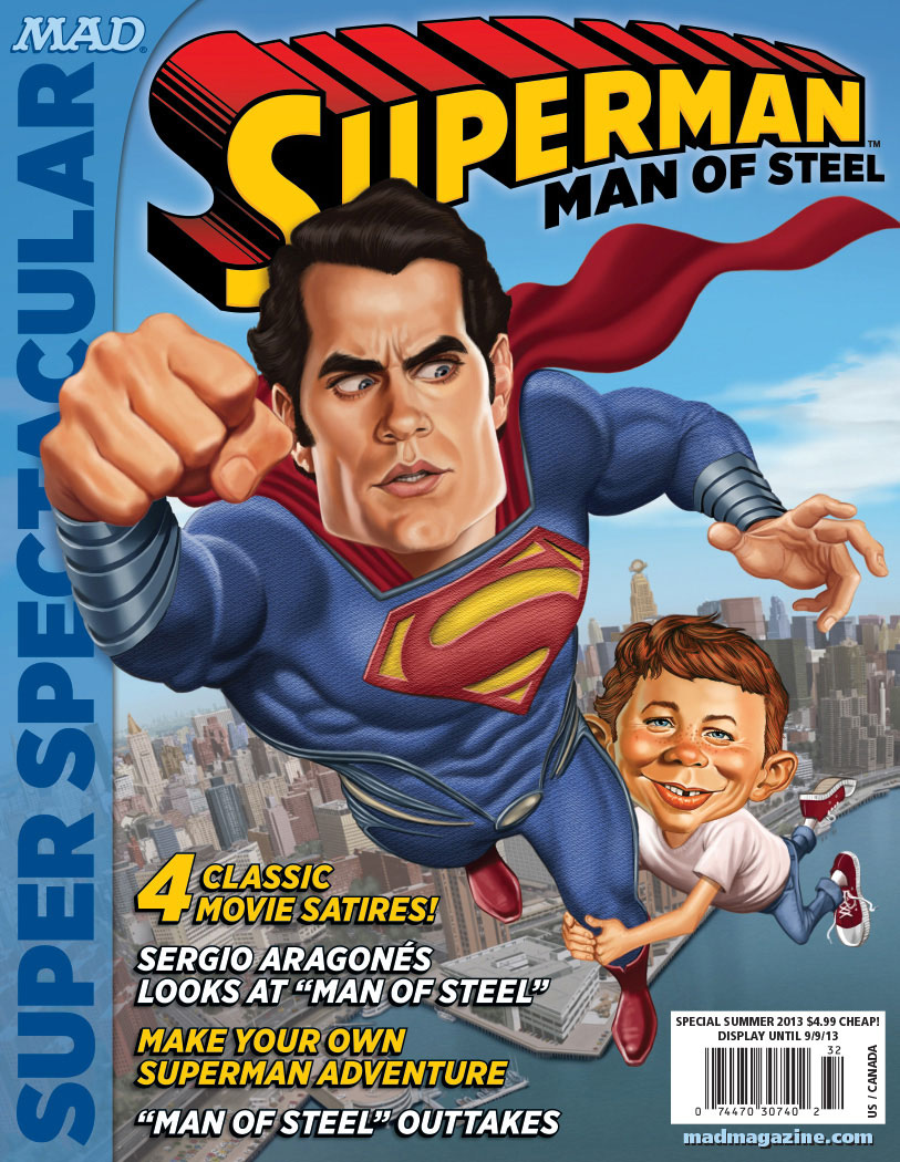 mad magazine the idiotical man of steel superman super spectacular tom richmond alfred e neuman henry cavill