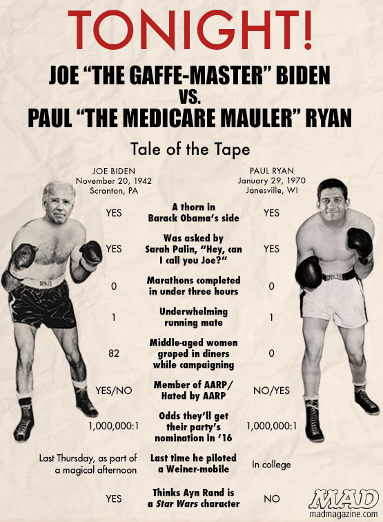 mad magazine the idiotical Biden vs. Romney Presidential Debate: The Tale of the Tape Idiotical Originals, Politics, Presidential Campaign, Presidential Election, Debates, Joe Biden, Paul Ryan, Barack Obama, Mitt Romney, The Michael Chang Reebok Pumps With the Little Tennis Ball on the Side