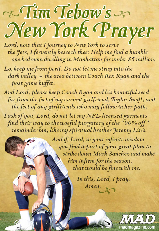 MAD Magazine Tim Tebow's New York Prayer New York jets mark sanchez taylor swift rex ryan nfl football