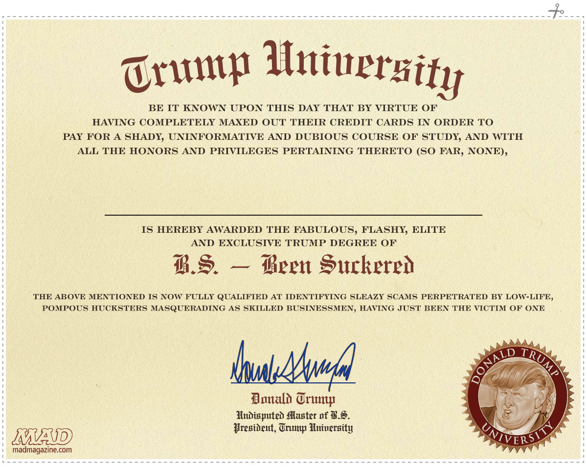 Idiotical Originals, Society and Culture, Donald Trump, Education, Trump University, College, Scams