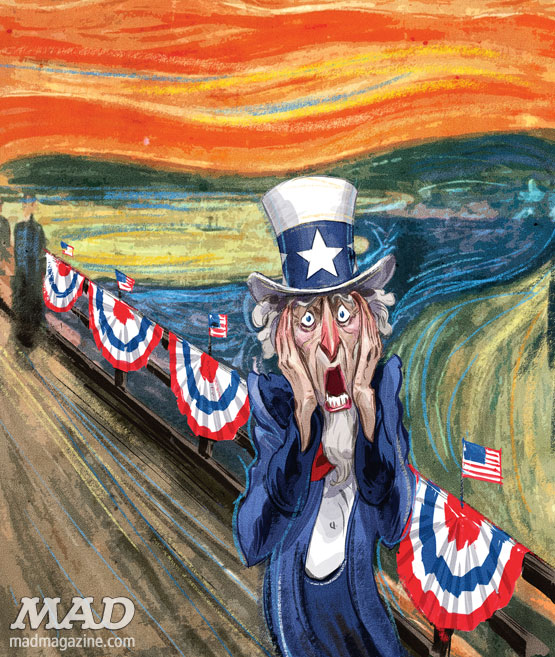 MAD Magazine Uncle Sam The Scream Hermann Mejia 50 Worst Things ABout Amercian The Idiotical