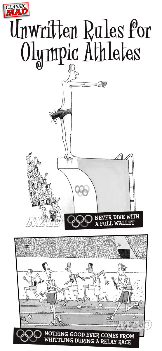 mad magazine the idiotical MAD About the Olympics: Unwritten Rules for Olympic Athletes Classic MAD, Olympics, MAD About the Olympics, Summer Games, Sports, John Caldwell