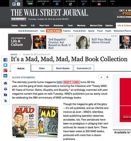 mad magazine the idiotical MAD in The Wall Street Journal! MAD Books, Wall Street Journal, 60th Anniversary, Heroic Success