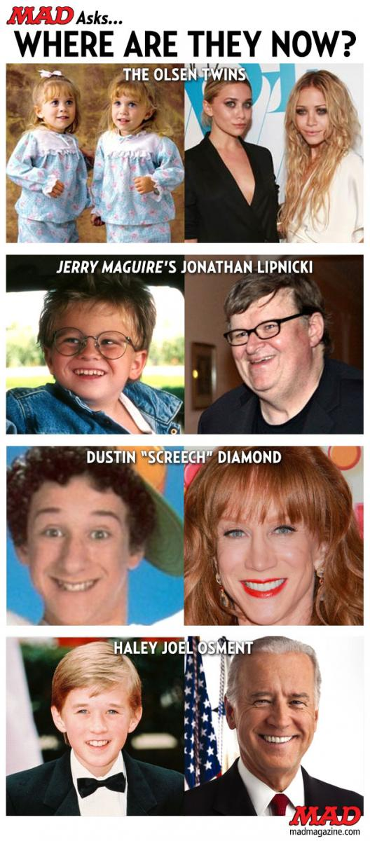Idiotical Originals, Where Are They Now?, Olsen Twins, Screech, Michael Moore, Kathy Griffin, Joel Haley Osment, Joe Biden, Jerry Maguire, Jonathan Lipnicki, Weasel Orthodontia
