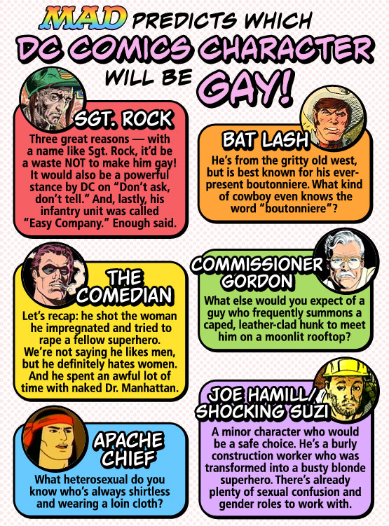 MAD Magazine Predicts Which DC Comics Character Will Be Gay! The Idiotical Bat Lash Sgt. Rock Comedian Watchmen Commissioner Gordon Batman Shocking Suzi Joe Hamill Apache Chief Super Friends Gay YMCA Village People