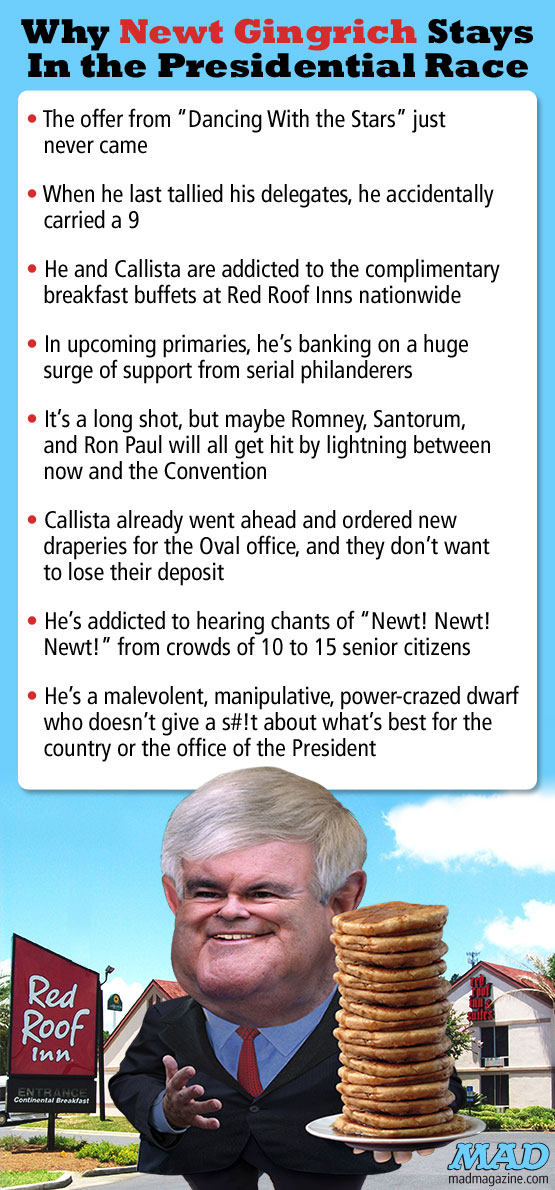 Mad Magazine Why Newt Gingrich Stays in the Presidential Race