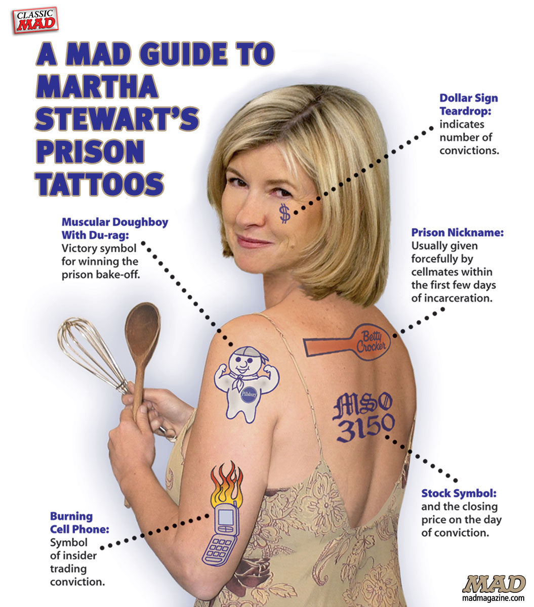 Classic MAD, Martha Stewart, Insider Trading, Prison, ImClone, Tattoos, Groucho Glasses, MAD #455, Fundalini