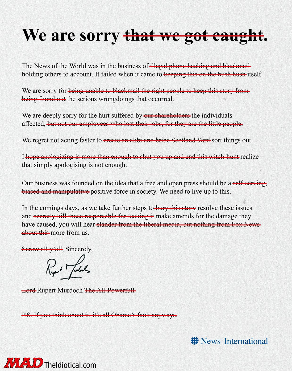 news of the weird rupert murdoch s apology letter mad magazine news of the weird rupert murdoch s apology letter