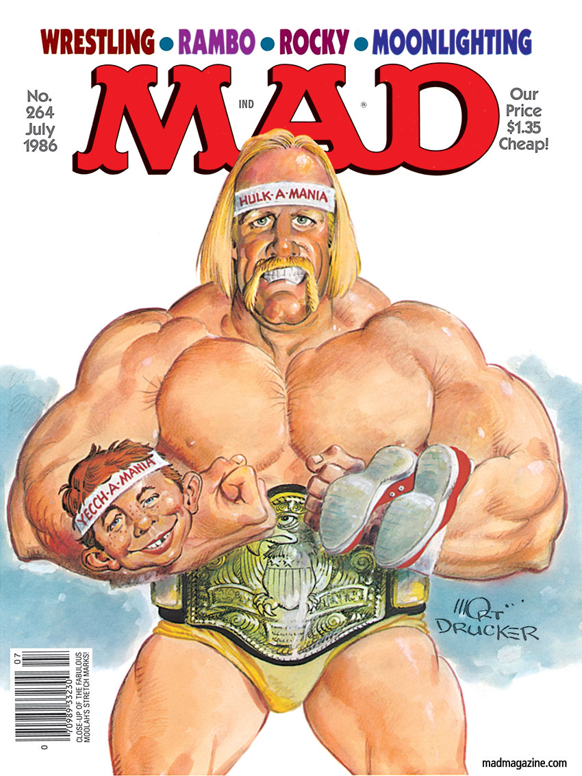 Classic MAD, MAD Covers, MAD #264, Sports, Hulk Hogan, Hulkamania, WrestleMania, Vince McMahon, Wrestling, WWE, WWF, Legalization of Potstickers