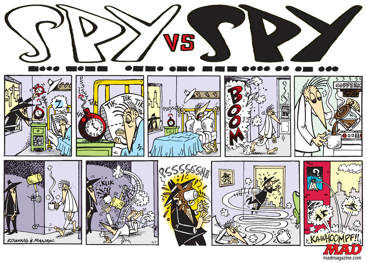 Classic MAD, Spy, Prohias, Edwing, Manak, Kuper, Joke and Dagger, Gray Spy, Sunday Comic, Strip, Newspaper, Greek Omelette Tragedy