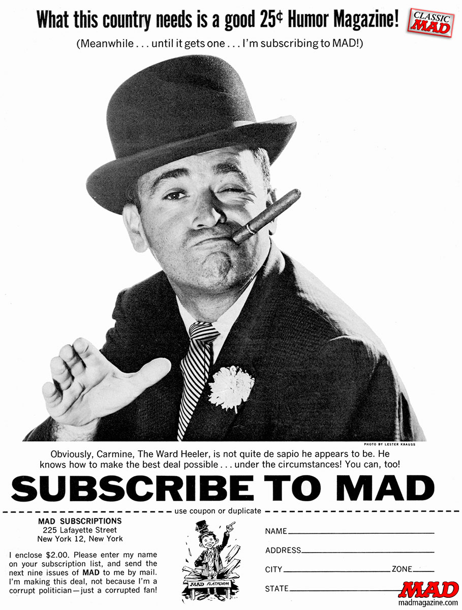 mad magazine subscription ad al feldstein carmine ward heeler