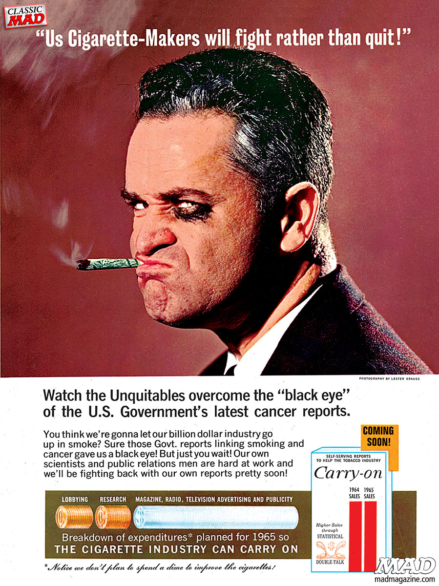 mad magazine al feldstein ad parodies carry on cigarettes