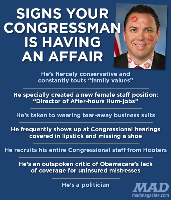 mad magazine the idiotical Signs Your Congressman is Having an Affair Idiotical Originals, Politics, Congress, House of Representatives, Staffer, Aide, Vance McAllister, Melissa Anne Hixon Peacock, Cheating, Affair, Scandal, Mistress, Infidelity, Apology, Mariachi Band Hype-man