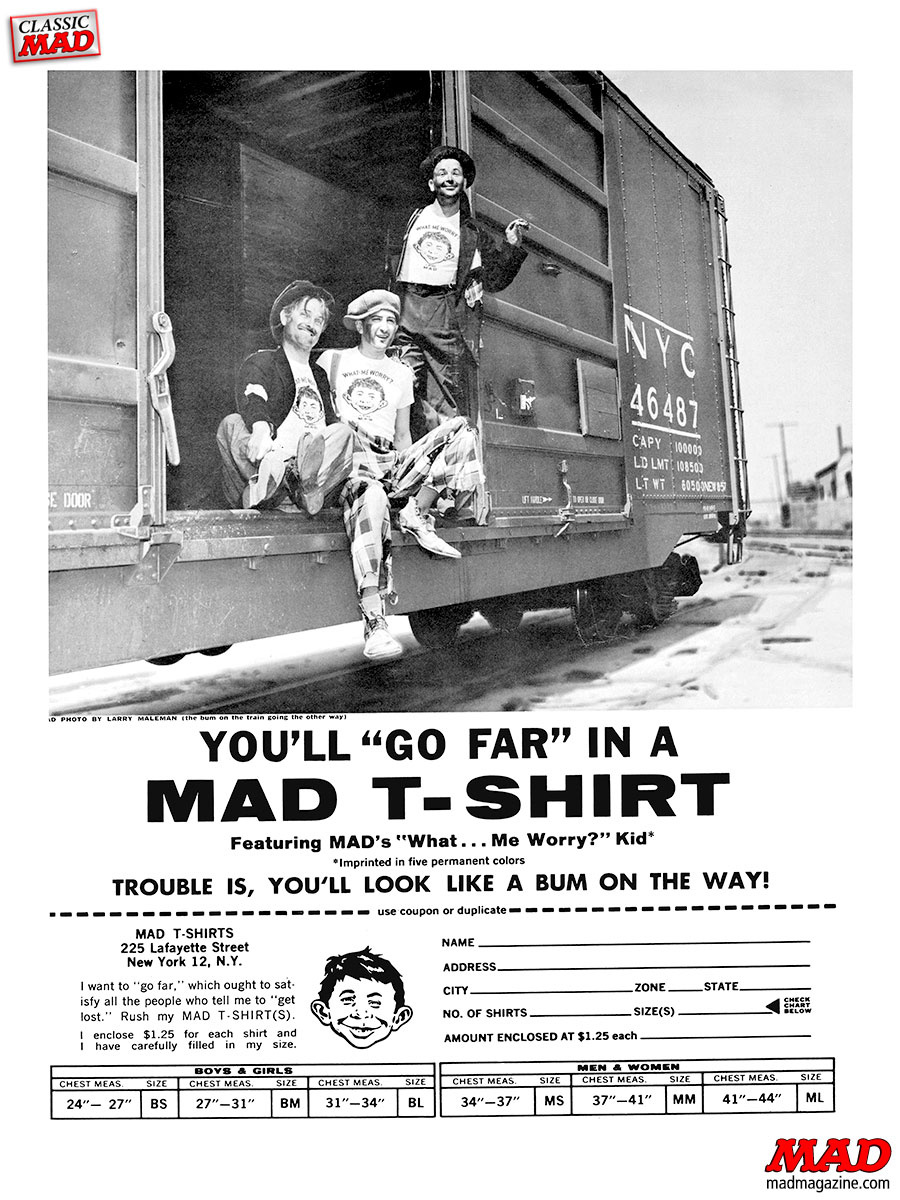 mad magazine subscription ad t-shirt al feldstein hoboes train hopping