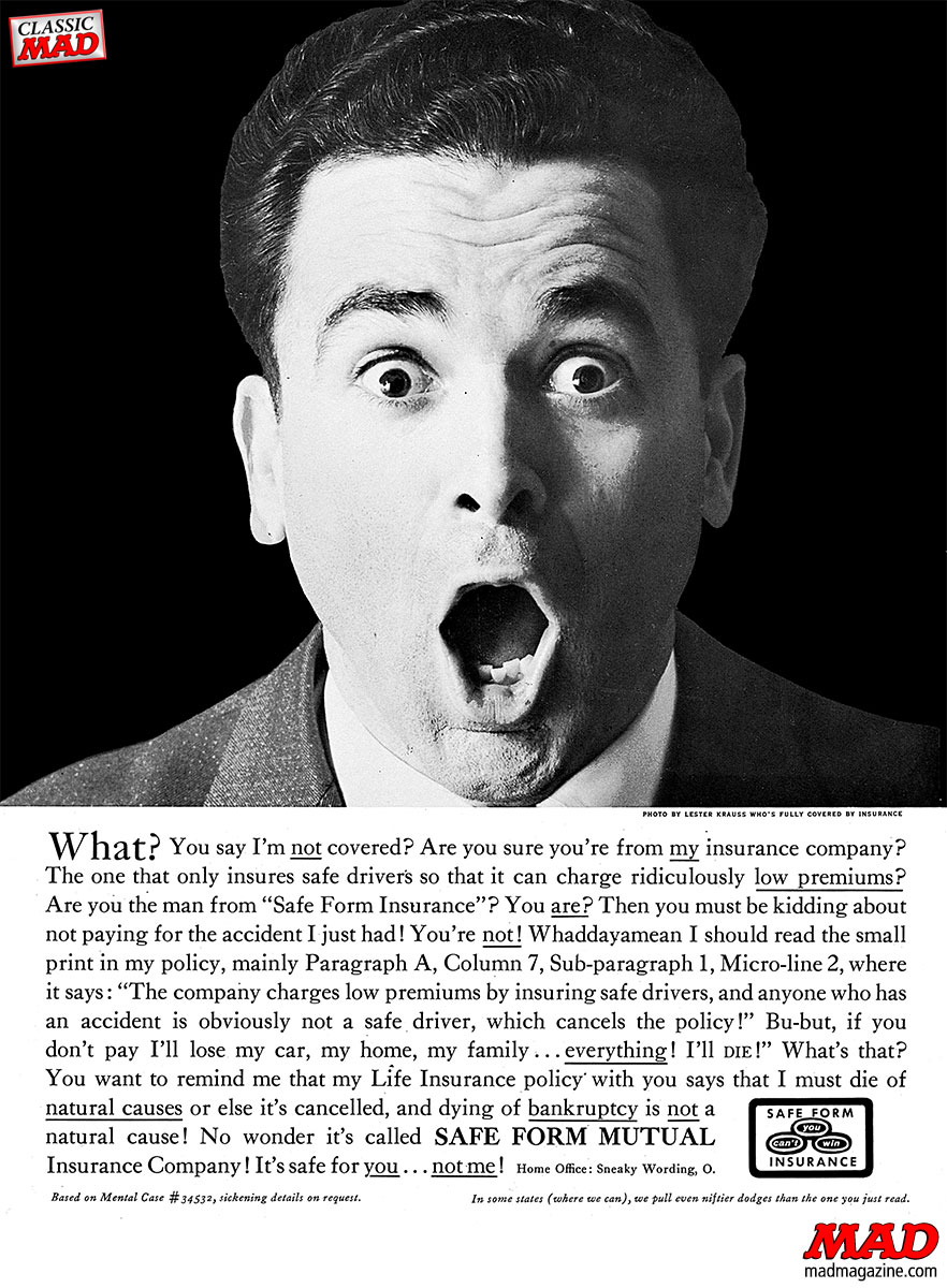 mad magazine ad parodies safe form insurance