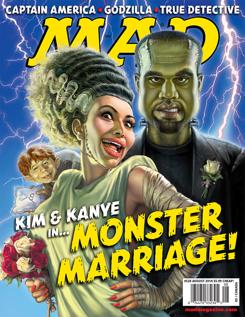 MAD Covers, Kim Kardashian, Kimye, Kanye West, Celebrities, Music, Television, Keeping Up with the Kardashians, Rap, Hip-Hop, Alfred E. Neuman, Mark Fredrickson, Frankenstein, Bride of Frankenstein, Igor, Monsters, Monster Marriage, Weddings