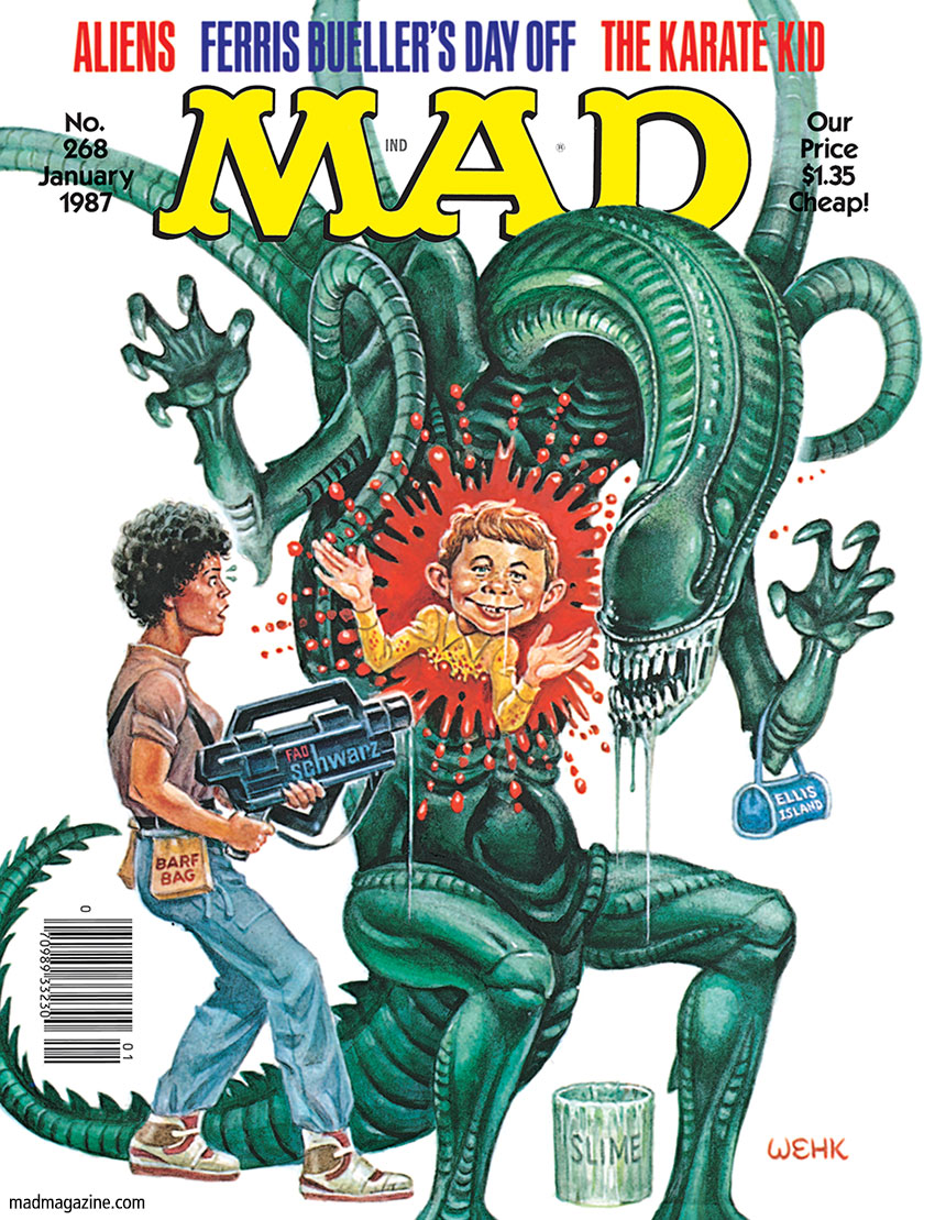 "mad magazine the idiotical R.I.P. H.R. Giger, Artist, Designer of ""Alien"" Classic MAD, MAD Covers, H.R. Giger, Alien, Aliens, Movies, Science Fiction, Horror, Monsters, Sequels, Artists, Harvey Kurtzman, Will Elder, MAD #268"