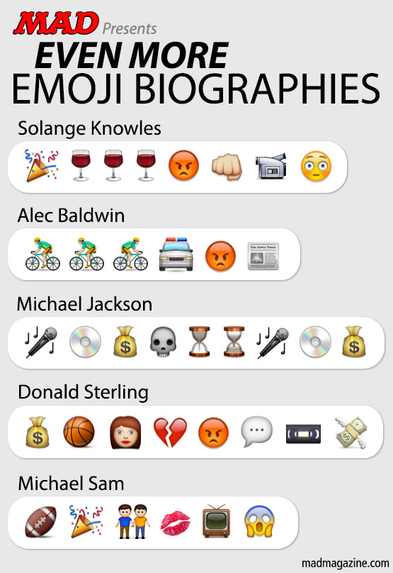 mad magazine the idiotical Idiotical Originals, Emoji Biographies, Solange Knowles, Michael Sam, NFL, Football, Gay Rights, Michael Jackson, Music, Sports, Donald Sterling, NBA, L.A. Clippers, Alec Baldwin, Celebrities, Beastie Boys' Life Magazine Subscription