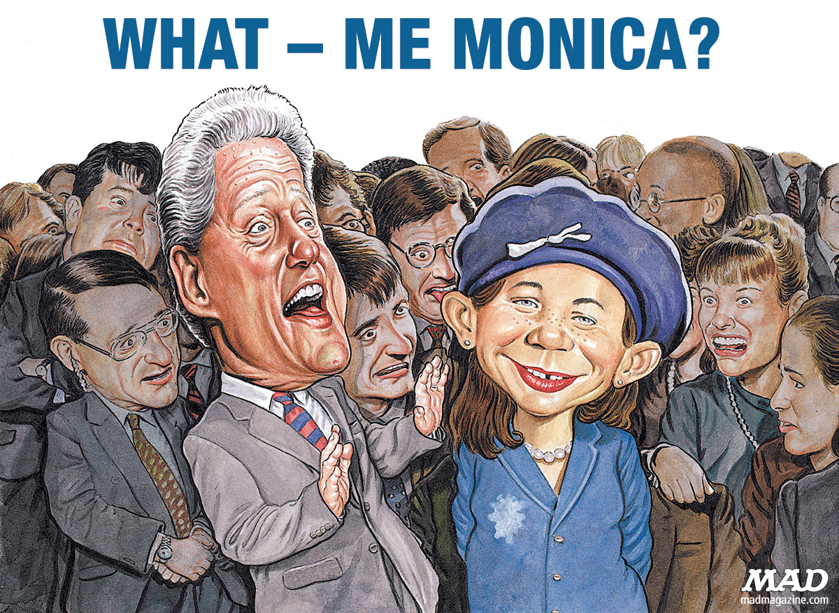 Classic MAD, Politics, Scandal, Monica Lewinsky, Alfred E. Neuman, Bill Clinton, Hillary Clinton, MAD #387, Drew Friedman, Self-Driving Big Wheels Prototypes