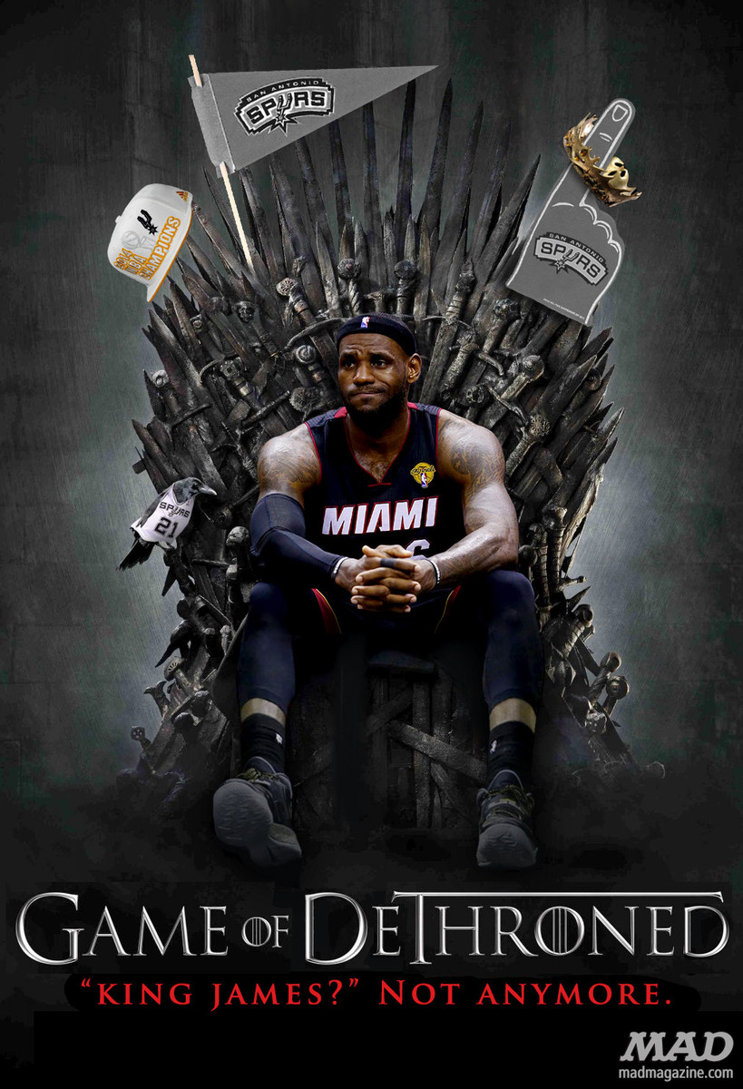 mad magazine the idiotical LeBron James' Tragic New Show Idiotical Originals, Sports, Game of Thrones, NBA, Miami Heat, LeBron James, Basketball, Game of Dethroned, Posters, MAD Posters, HBO, San Antonio Spurs, Tim Duncan, NBA Finals, John Stockton Hip-Hop Album