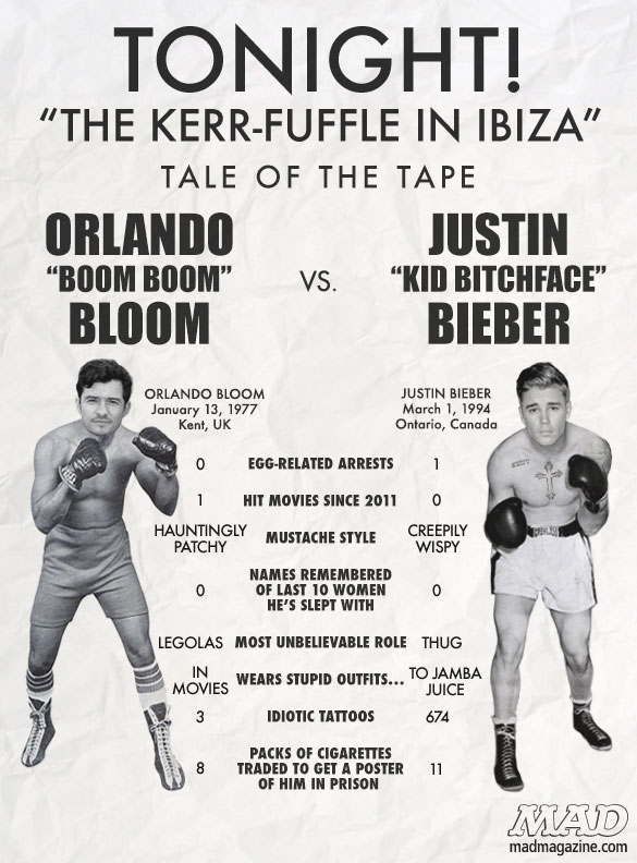 Idiotical Originals, Society & Culture, The Tale of the Tape, Orlando Bloom, Justin Bieber, Music, Movies, Miranda Kerr, Selena Gomez, Fight, Mayonnaise-themed Haikus
