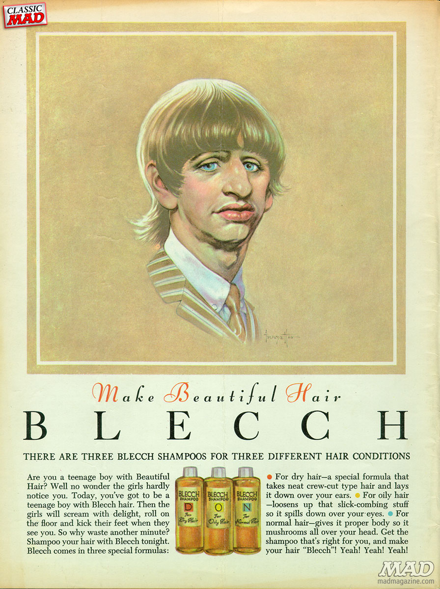 Classic MAD, Blecch Hair Color, Ringo Starr, The Beatles, MAD #90, Frank Frazetta, MAD Ad parody