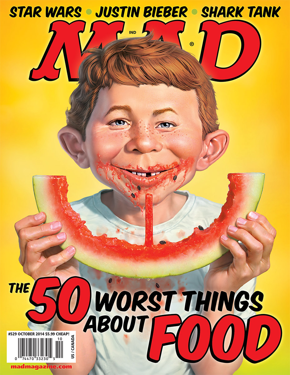 mad magazine the idiotical mad covers mad 529 alfred e neuman mark fredrickson watermelon 50 worst things about food