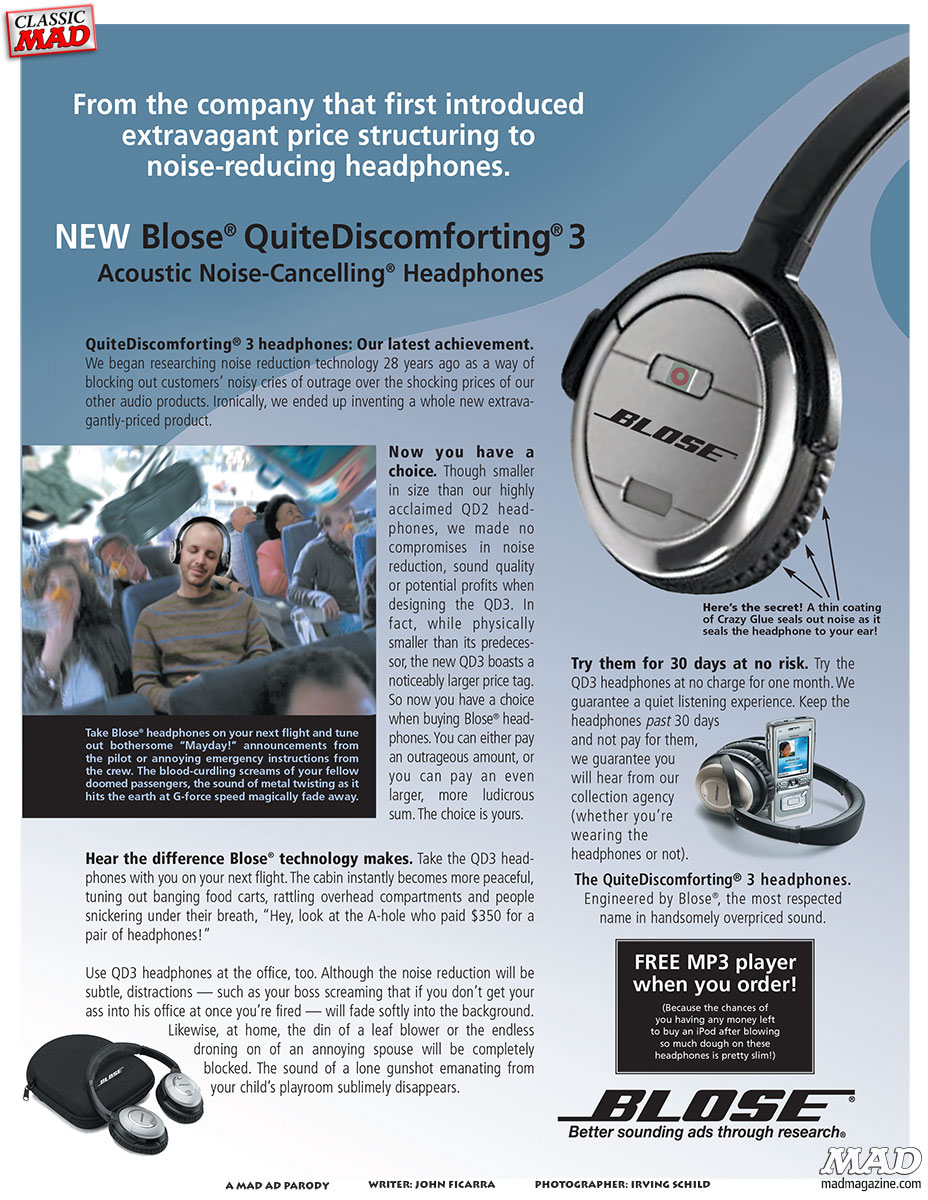 bose noise cancelling headphones ad. classic mad, mad ad parody, #484, bose, headphones, irving bose noise cancelling headphones