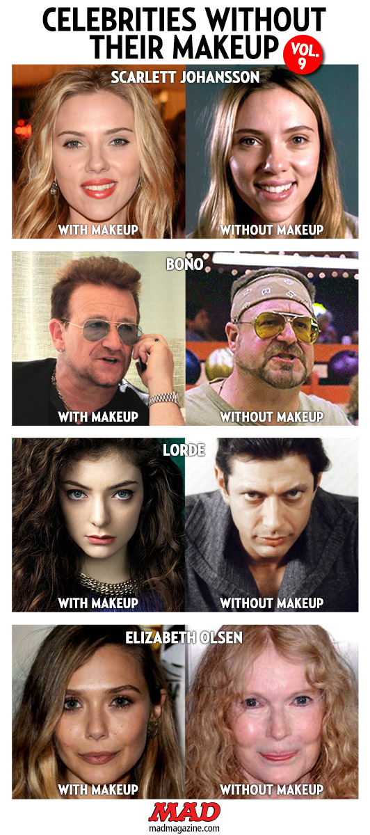 Idiotical Originals, Celebrities Without Their Makeup, Scarlett Johansson, Bono, U2, John Goodman, The Big Lebowski, Lorde, Jeff Goldblum, Elizabeth Olsen, Mia Farrow, Whodini Escape Tricks