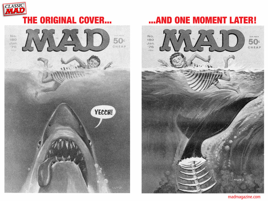 MAD About Shark Week Classic MAD, MAD Covers, Duck Edwing, Jack Rickard, Sharks, Shark Week, Discovery Channel, Jaws, The Moment After