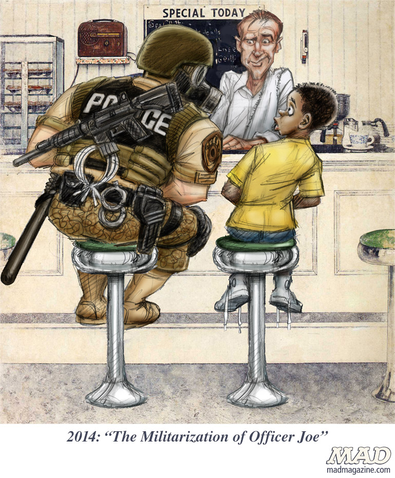 "If Norman Rockwell Depicted Today's America: ""The Militarization of Officer Joe"" agazine the idiotical Idiotical Originals, Norman Rockwell, Ferguson, The Runaway, Militarization, Desmond Devlin"