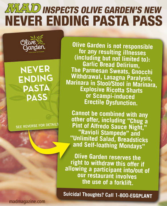 MAD Inspects Olive Garden\'s New Never Ending Pasta Pass | Mad Magazine