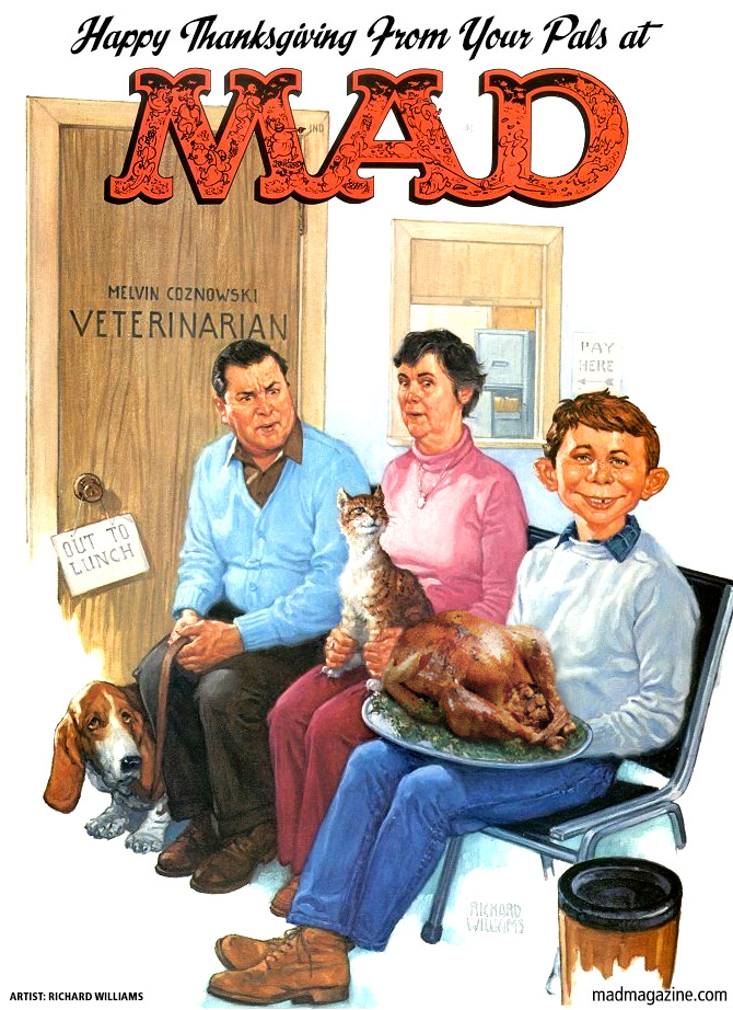 Classic MAD, Richard Williams, MAD Covers, MAD #248, Holidays, Thanksgiving, Alfred E. Neuman, Veterinarian, Turkey, High-Stakes Foosball Gambling