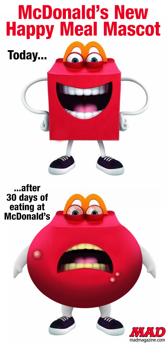 mad magazine the idiotical McDonald's New Happy Meal Mascot: Before and After Idiotical Originals, Fast Food, McDonald's, Food, Happy Meal, Mascots, Obesity, Leprechaun 9: Leprechaun in Altoona