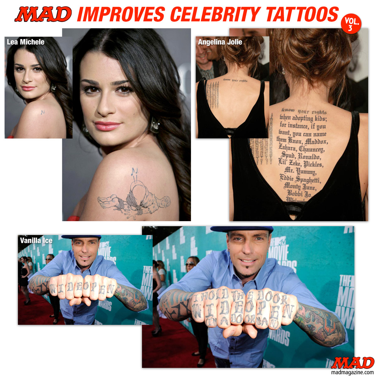 MAD Magazine MAD Improves Celebrity Tattoos, Vol. 3 Idiotical Originals, MAD Improves Celebrity Tattoos, Stars' Tattoos, Lea Michelle, Glee, Angelina Jolie, Brad Pitt, Vanilla Ice, Monkey Biscuit Superstar
