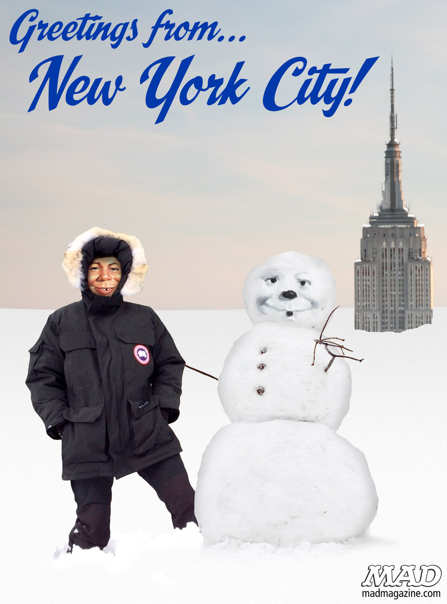 MAD Magazine Greetings From New York City! Idiotical Originals, Weather, Snow, Blizzard, Alfred E. Neuman, Empire State Building, Posters, Marmalade Shampoo