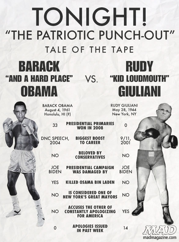 MAD Magazine Barack Obama vs. Rudy Giuliani: The Tale of the Tape Idiotical Originals, Tale of the Tape, Politics, Barack Obama, Rudy Giuliani, Boxing, Sports, Coconut-Water Birth