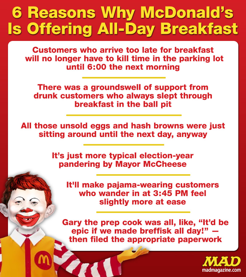 "MAD Magazine 6 Reasons Why McDonald's Is Offering All-Day Breakfast Idiotical Originals, McDonald's, Fast Food, Breakfast, Big Mac, Ronald McDonald, Mayor McCheese, Monopoly: Special ""Nightline"" Edition"