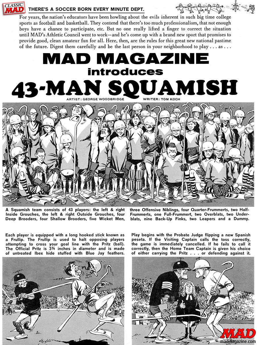 MAD Magazine R.I.P. MAD Writer Tom Koch Classic MAD, R.I.P., Tom Koch, 43-Man Squamish, George Woodbridge, MAD #95