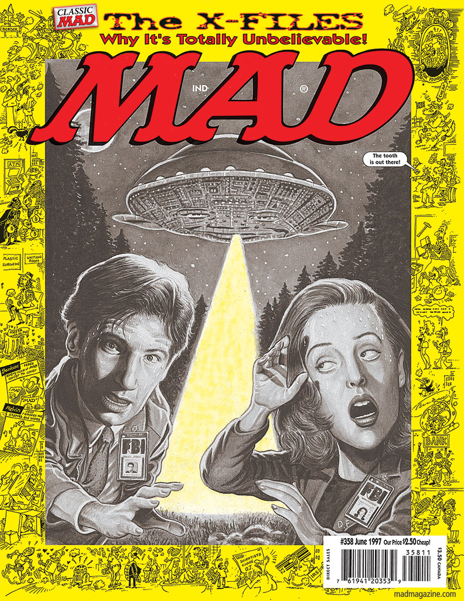 Classic MAD, Television, MAD Covers, The X-Files, Science Fiction, Chris Carter, David Duchovny, Gillian Anderson, Dana Scully, Fox Mulder, Unconvincing Gravy Facsimiles, Drew Friedman, MAD #358