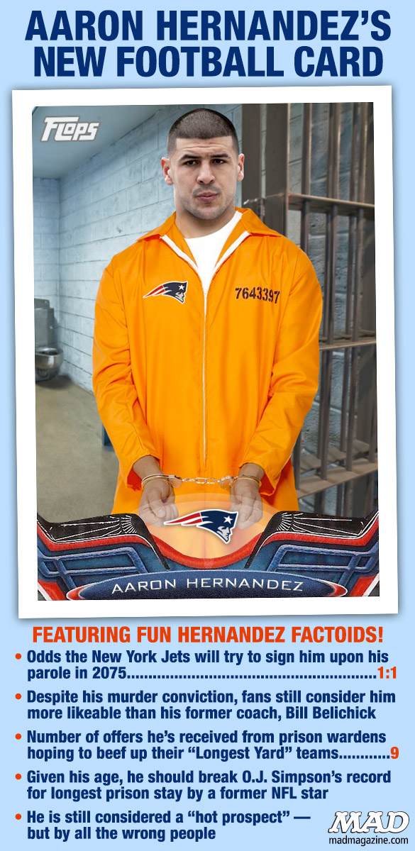 MAD Magazine Aaron Hernandez's New Football Card Idiotical Originals, Sports, Crime, Murder, NFL, New England Patriots, Aaron Hernandez, Topps, Football, Football Card, Bill Belichick, Fat Guys With Pringles Canisters Stuck on Their Hands