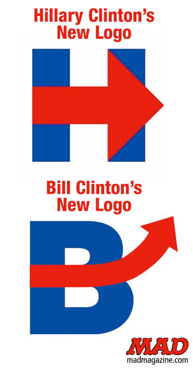 MAD Magazine Hillary and Bill Clinton Unveil New Logos Idiotical Originals, Hillary Clinton, Bill Clinton, Presidential Race, Campaign Logo, 2016, Toronto Blue Jaywalking