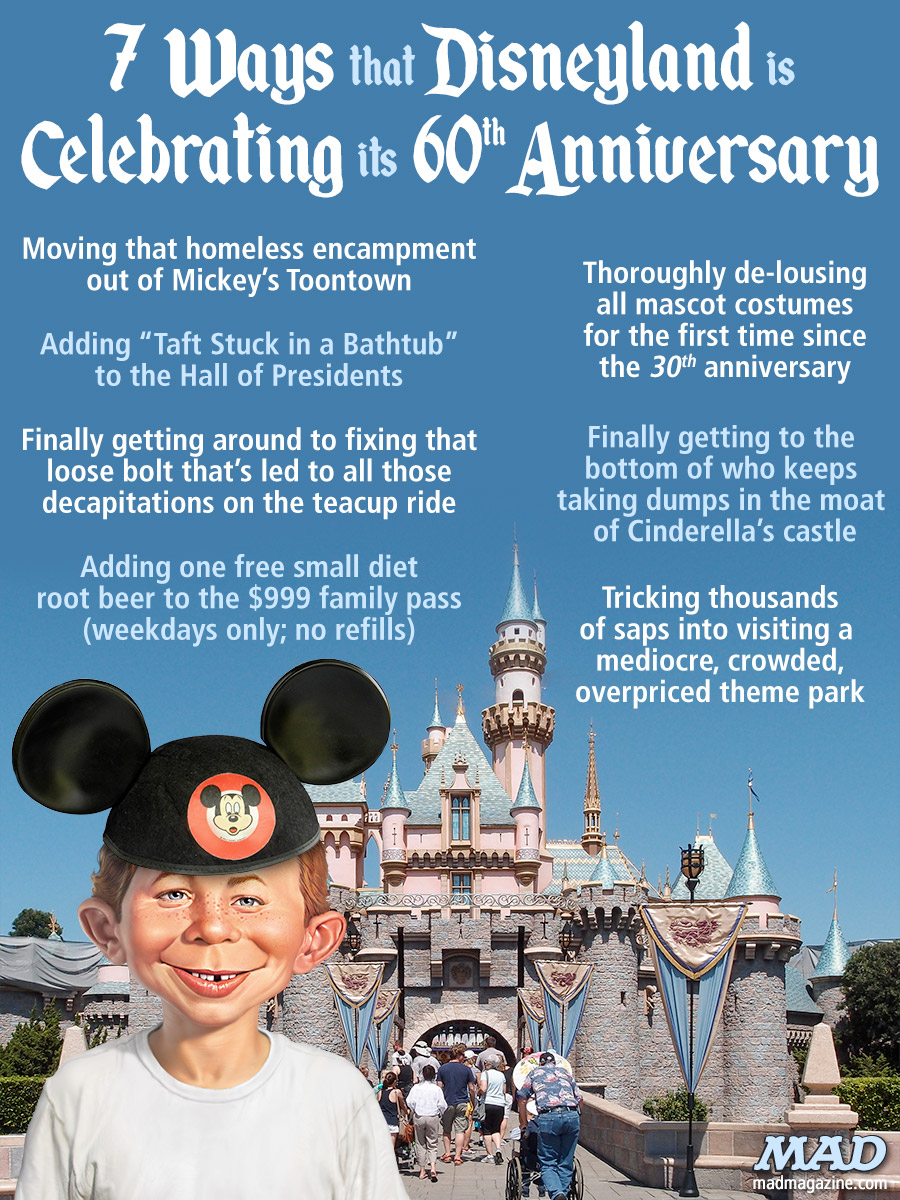 MAD Magazine 7 Ways that Disneyland is Celebrating its 60th Anniversary Idiotical Originals, Disneyland, Anniversary, Mickey Mouse, McKinley Rodriguez Intros