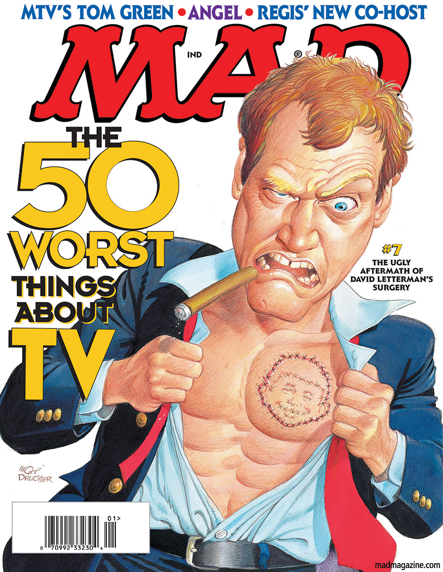 MAD Magazine MAD Salutes David Letterman Classic MAD, David Letterman, MAD #396, TV, Late Show, Mort Drucker